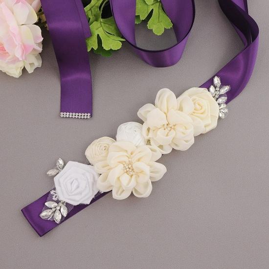 BMbridal Fashion Chiffon Flowers Wedding Sash with Beadings_9