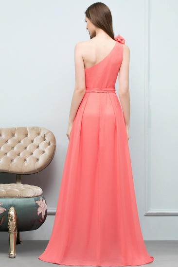 Chic One Shoulder Flower Long Bridesmaid Dresses with Bow Sash_3