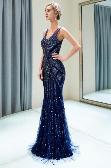 Glamorous Mermaid V-Neck Prom Dresses Sleeveless Long Evening Gowns with Rhinestones_8