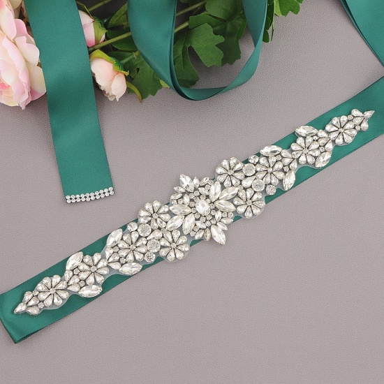 BMbridal Satin Flowers Pattern Wedding Sash with Pearls_15
