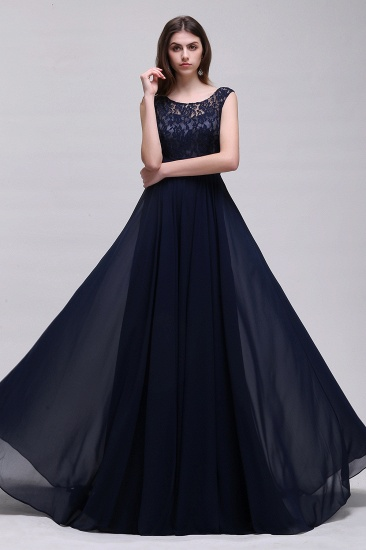 Vintage Lace Scoop Sleeveless Dark Blue Bridesmaid Dress with V-Back_4