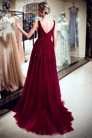 BMbridal Burgundy V-Neck Sequins Beadings Prom Dress Long Tulle Evening Gowns_6