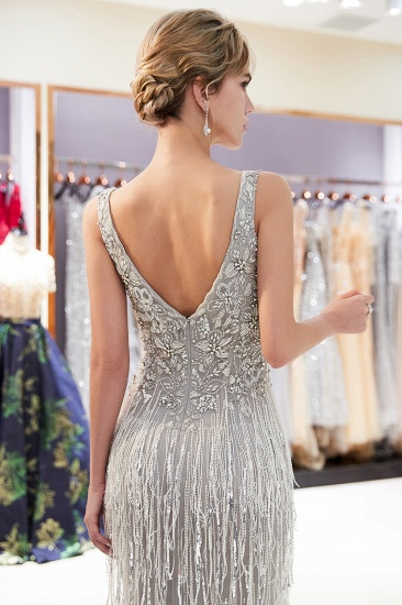 BMbridal Sexy Deep V-Neck Mermaid Silver Prom Sleeveless Sleeveless Crystals Formal Dresses with Tassels_8