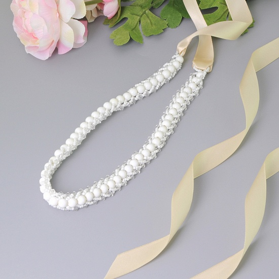 BMbridal Satin Beadings Wedding Sash with Pearls_6