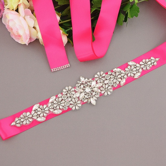 BMbridal Satin Flowers Pattern Wedding Sash with Pearls_4