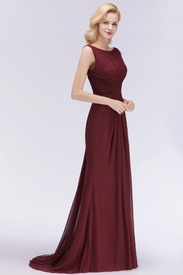 BMbridal Mermaid Scoop Sleeveless Lace Burgundy Bridesmaid Dresses with Pleats_5