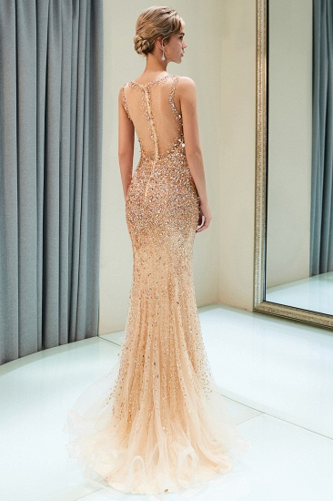 Glamorous V-Neck Rhinestones Prom Dress Long Mermaid Evening Gowns_4