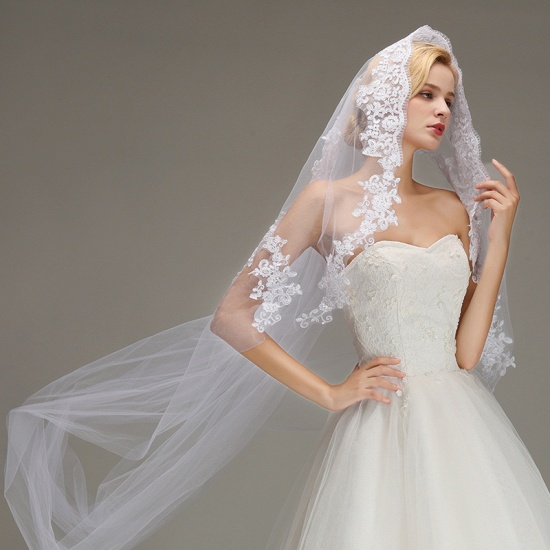 BMbridal One Layer Wedding Veil with Comb Appliqued Cathedral Length Bridal Veil_5
