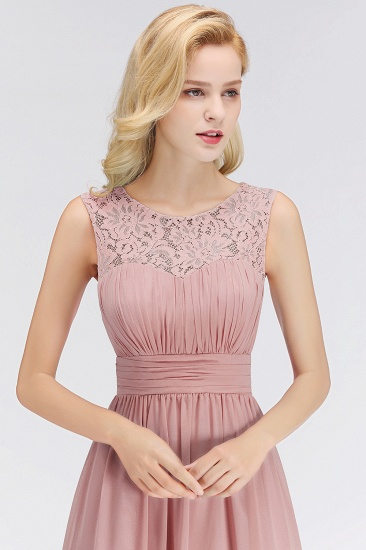 BMbridal Elegant Lace Scoop Bridesmaid Dress Dusty Rose Chiffon Sleeveless Wedding party Dress_4
