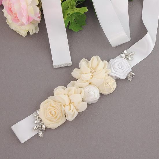 BMbridal Fashion Chiffon Flowers Wedding Sash with Beadings_3