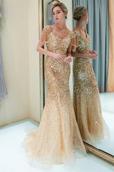 Elegant Mermaid Off-the-shoulder Prom Dresses V-neck Sequins Long Evening Dresses_15