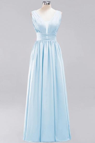 Modest Dark Green Long Bridesmaid Dress Deep V-Neck Chiffon Maid of Honor Dress_23