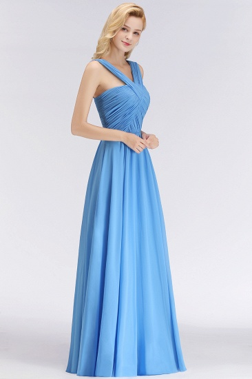 Chic Crisscross Ocean Blue Junior Bridesmaid Dresses Affordable Chiffon Ruffle Maid of Honor Dresses_5