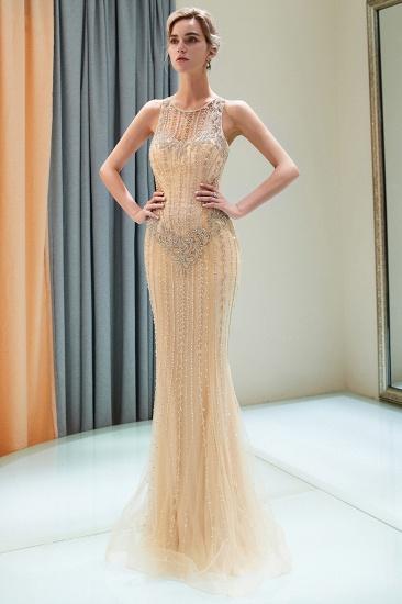 GOrgeous Jewel Gold Mermaid Prom Dresses Sleeveless Evening Dresses with Rhinestones_6