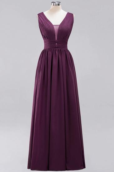 Modest Dark Green Long Bridesmaid Dress Deep V-Neck Chiffon Maid of Honor Dress_20