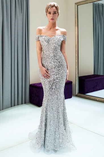 BMbridal Affrodable Mermaid Off-the-shoulder Prom Dresses Long Sequins Silver Evening Gowns Online_1
