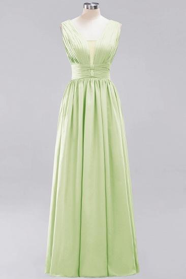 Modest Dark Green Long Bridesmaid Dress Deep V-Neck Chiffon Maid of Honor Dress_35