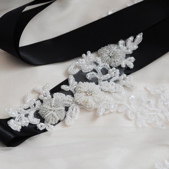 Beautiful Satin Flower Wedding Sash with Pearls_13