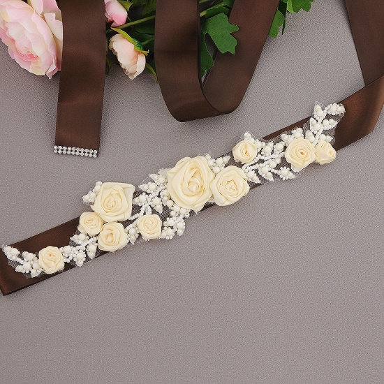 Elegant Satin Flowers Wedding Sash with Beadings_6