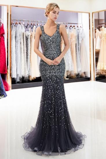 Glamorous V-Neck Rhinestones Prom Dress Long Mermaid Evening Gowns_2