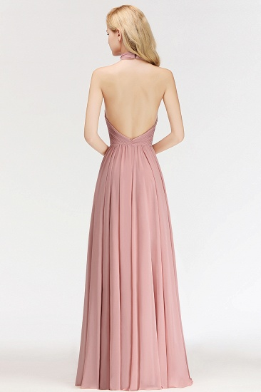 Gorgeous High-Neck Halter Backless Bridesmaid Dress Dusty Rose Chiffon Maid of Honor Dress_3