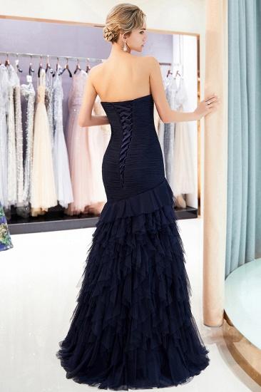 BMbridal Elegant Mermaid Sweetheart Strapless Prom Dresses Draped Tulle Long Evening Dresses On Sale_3
