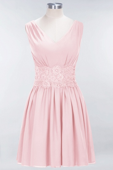 Pretty V-Neck Short Sleeveless Lace Bridesmaid Dresses Online_3