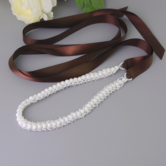 BMbridal Satin Beadings Wedding Sash with Pearls_5