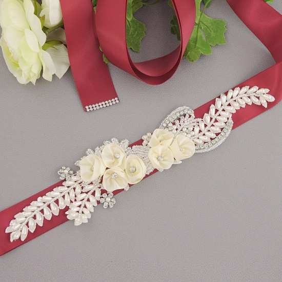 BMbridal Handmade Flower Pearl Wedding Sash with Beadings_4