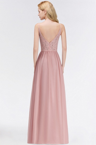 BMbridal Elegant Lace Keyhole Halter Dusty Rose Chiffon Bridesmaid Dress Affordable_3