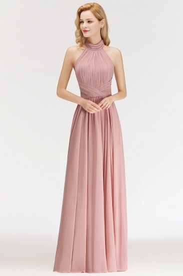 Gorgeous High-Neck Halter Backless Bridesmaid Dress Dusty Rose Chiffon Maid of Honor Dress_1