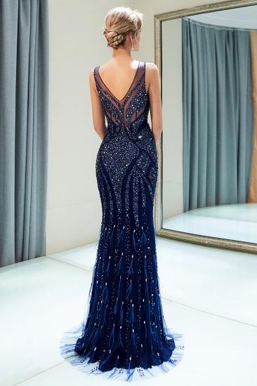 Glamorous Mermaid V-Neck Prom Dresses Sleeveless Long Evening Gowns with Rhinestones_3