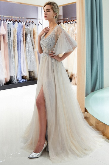 Chic V-neck Rhinestones Prom Dresses Tulle Evening Gowns with Short Sleeves Online_12