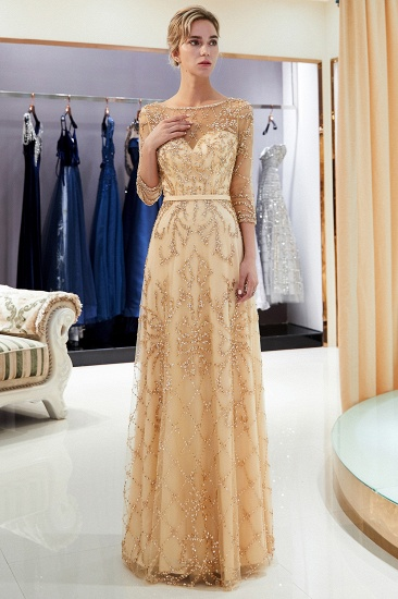Affordable A-line Illusion Neckline Prom Dresses Long Beading Evening Dresses with Sleeves_26