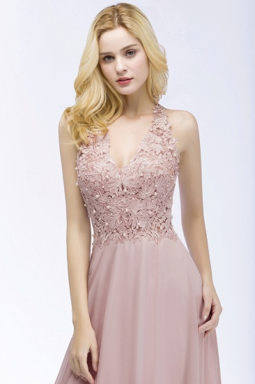Chic Lace V-neck Pink Chiffon Bridesmaid Dress with Pearls_6
