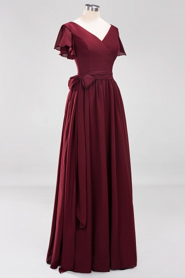BMbridal Burgundy V-Neck Long Bridesmaid Dress With Short-Sleeves_60