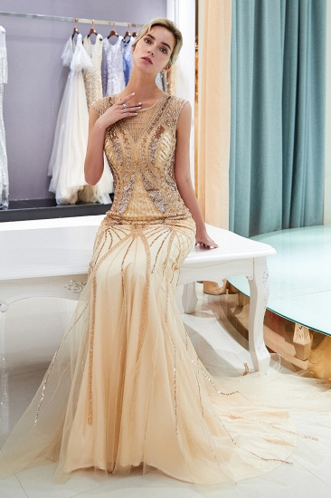 Affordable Mermaid Sleeveless Golden Sequins Beading Formal Party Dresses_3