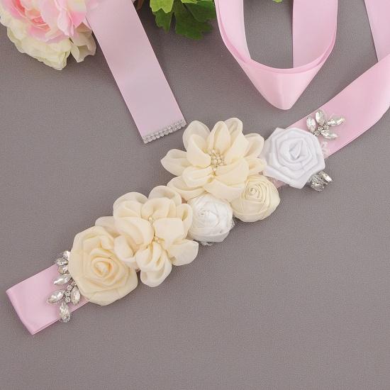 Fashion Chiffon Flowers Wedding Sash with Beadings_1