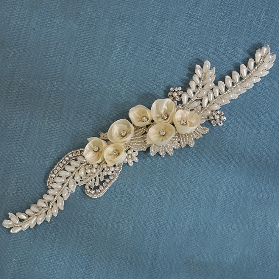 BMbridal Handmade Flower Pearl Wedding Sash with Beadings_22