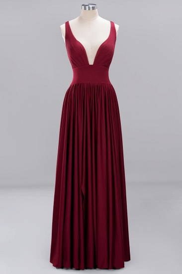 Sexy Deep V-Neck Sleeveless Bridesmaid Dress Burgundy Chiffon Wedding Party Dress_39