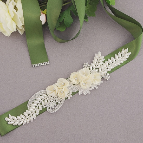 BMbridal Handmade Flower Pearl Wedding Sash with Beadings_15