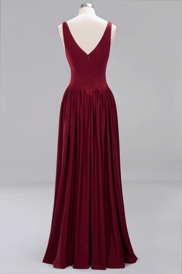 Sexy Deep V-Neck Sleeveless Bridesmaid Dress Burgundy Chiffon Wedding Party Dress_40