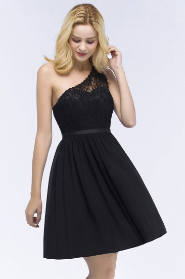 Lovely Lace Black One-shoulder Short Junior Bridesmaid Dresses Online_4