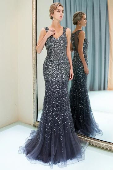 Glamorous V-Neck Rhinestones Prom Dress Long Mermaid Evening Gowns_13