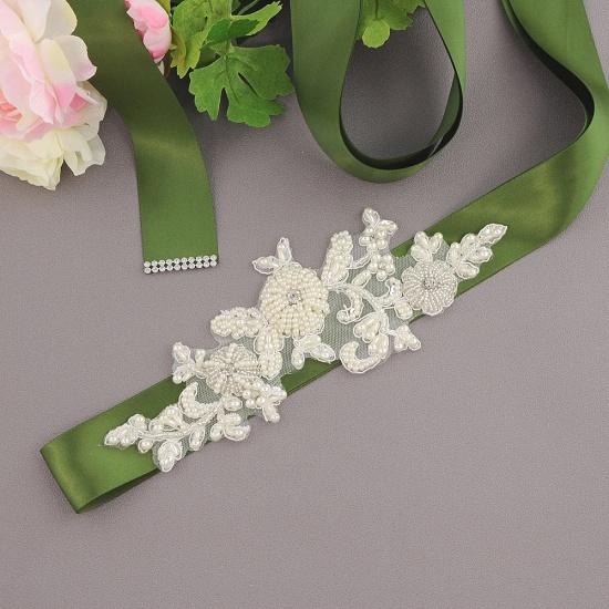 Beautiful Satin Flower Wedding Sash with Pearls_16
