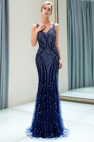 Glamorous Mermaid V-Neck Prom Dresses Sleeveless Long Evening Gowns with Rhinestones_5