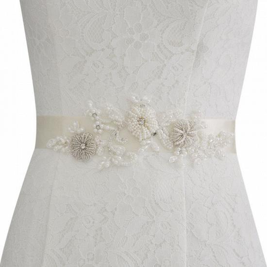 Beautiful Satin Flower Wedding Sash with Pearls_18