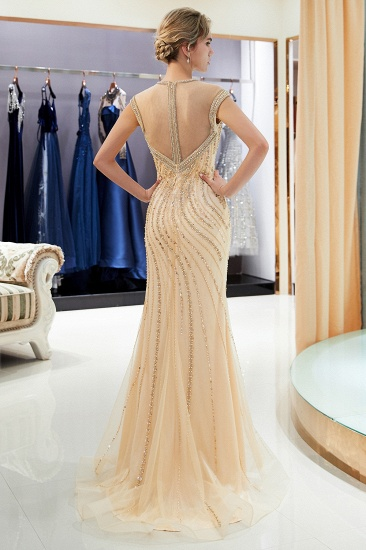 BMbridal Elegant Mermaid Jewel Long Gold Prom Dresses Sleeveless Evening Gowns with Rhinestones_3