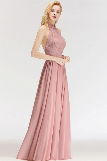 Gorgeous High-Neck Halter Backless Bridesmaid Dress Dusty Rose Chiffon Maid of Honor Dress_5