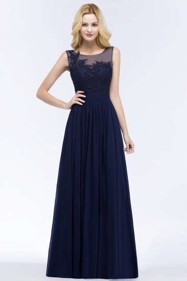 Chiffon Lace Appliques Affordable Navy Bridesmaid Dress Online_1